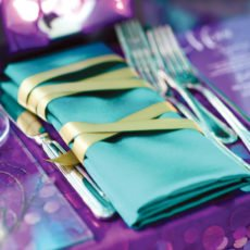teal and gold napkin wraps
