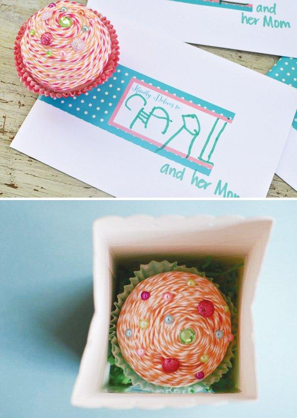twine cupcake invite