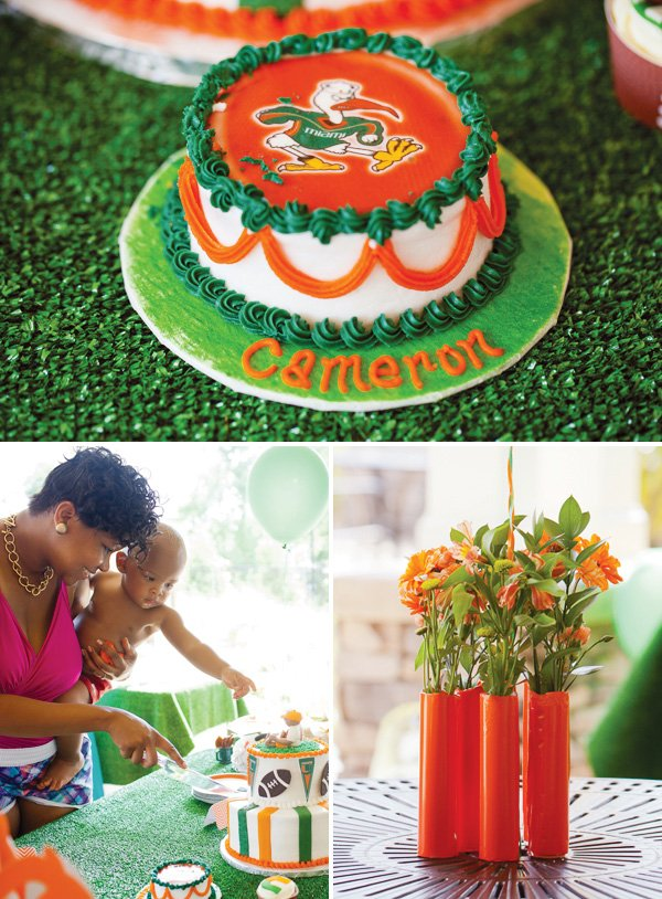 Go Canes UM Football Themed Birthday Party Hostess with the