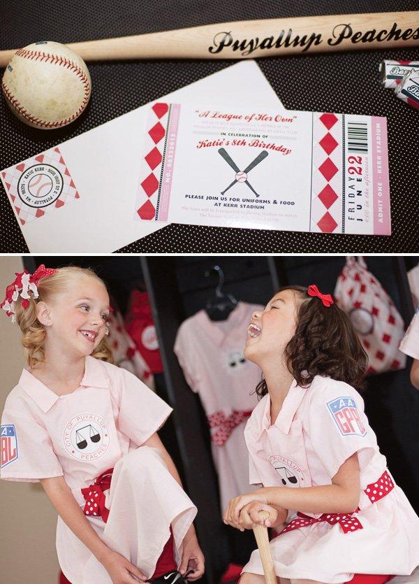 vintage girls baseball party invitation