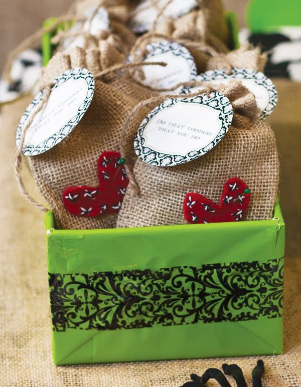 voodoo party favors in burlap bags