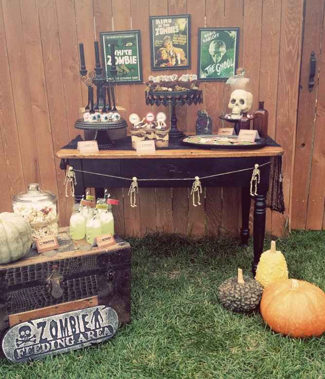 Zombie movie themed Halloween party