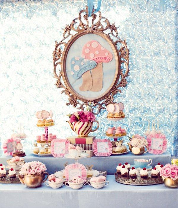 Alice tea party dessert table