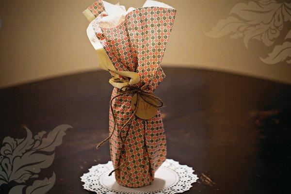 homemade hostess gift idea: wine gift wrap