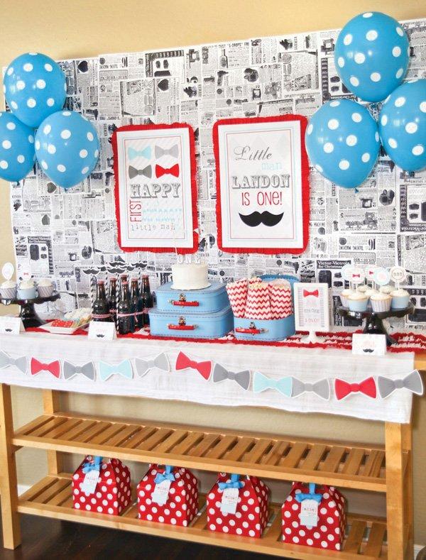 little man mustache party dessert table