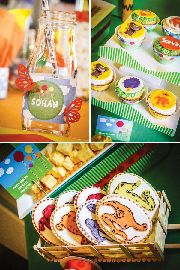 Lorax party drinks and desserts