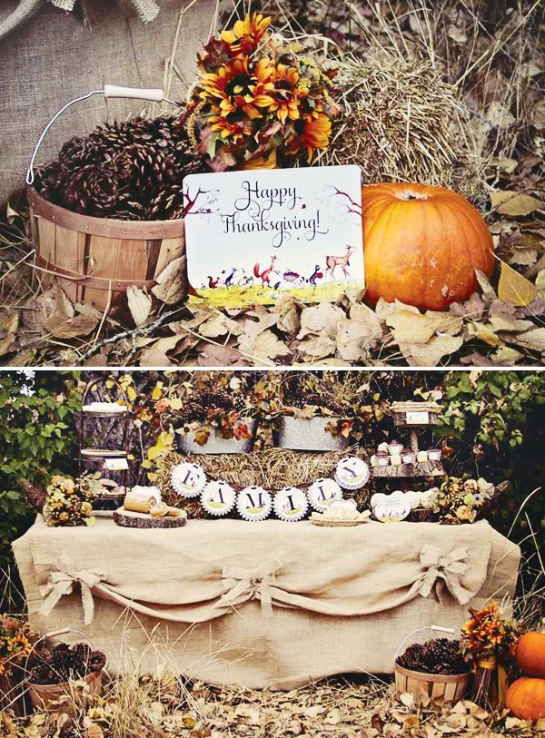 thanksgiving woodland dessert table