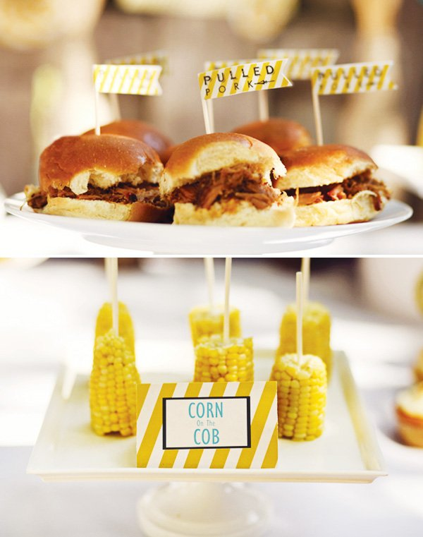 barbecue pulled pork and corn on the cob