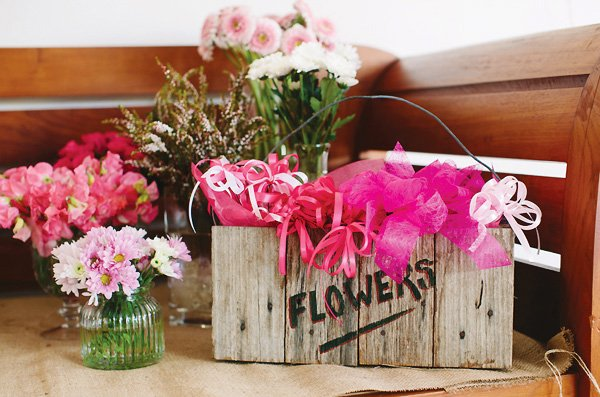 wooden flower box - birthday party flower station