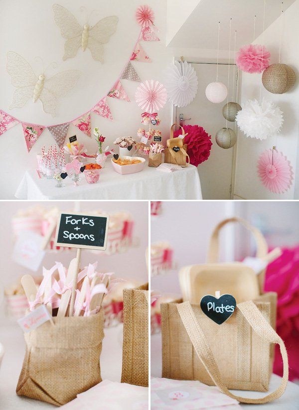 burlap and pink dessert table