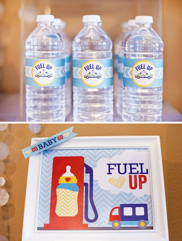 cars and trucks baby shower water bottle labels and drink station signs