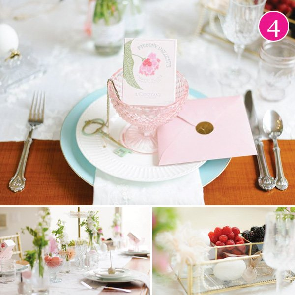 pink and teal dainty tablescape