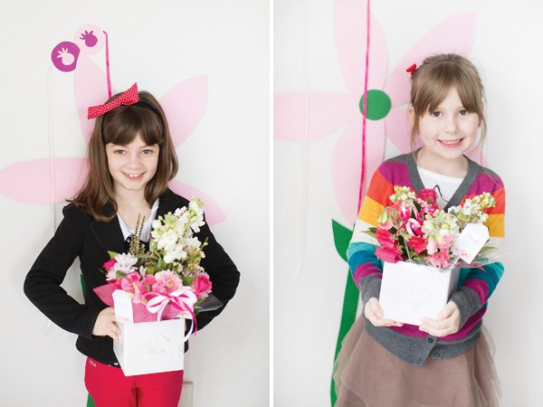 kids decorated floral centerpieces
