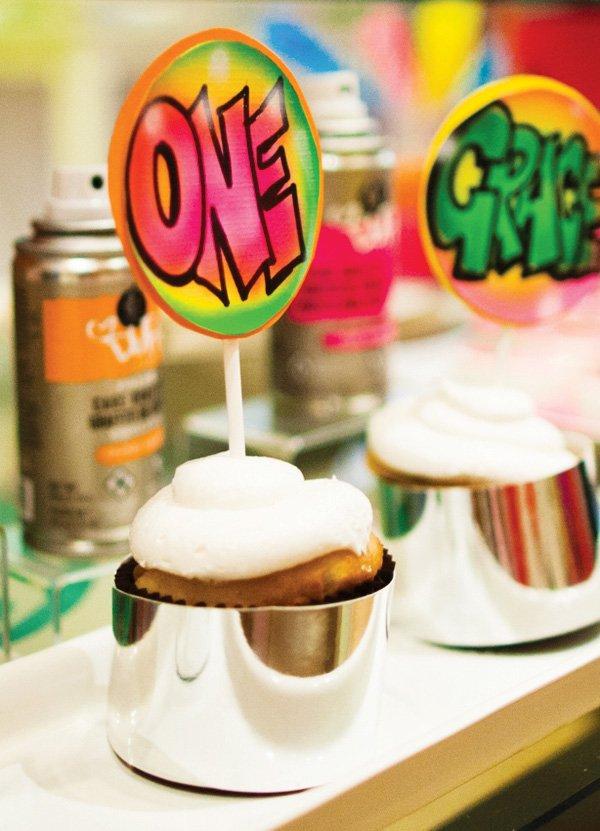 electric graffiti cupcake topper