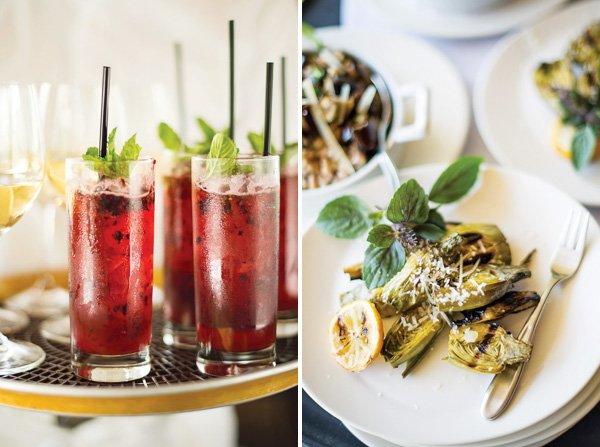 mojito cocktails and artichoke appetizer