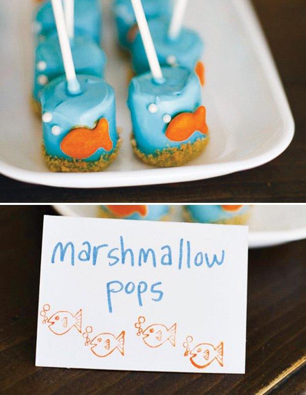 fish marshmallow pops