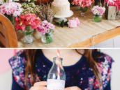 birthday girl flower decorating party and drinks