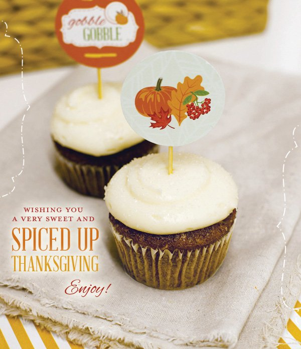 ginger spice cupcakes with thanksgiving cupcake toppers