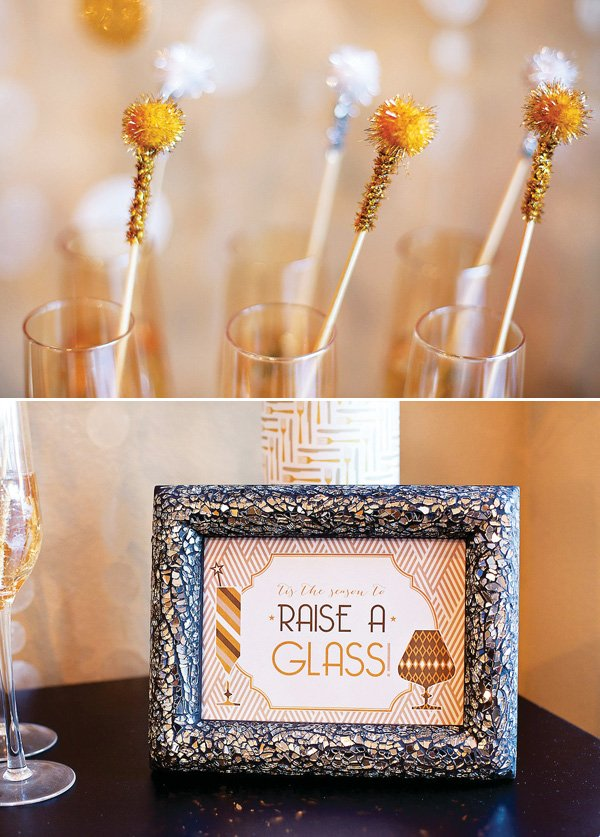 gold drink swizzle sticks