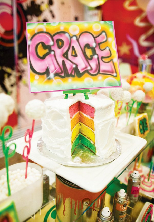 graffiti rainbow cake