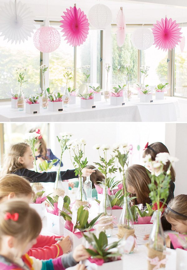 kids flower decorating party activity