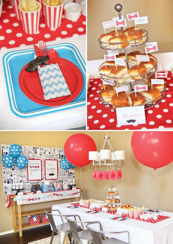 red polka dot mustache bash lunch