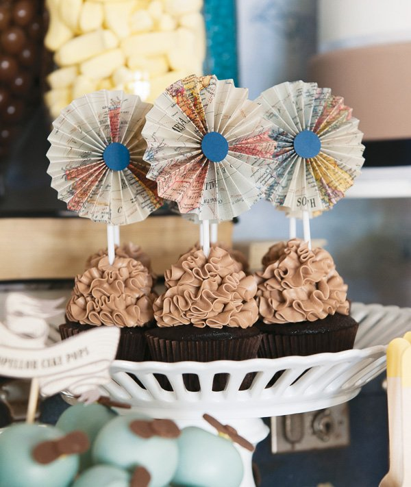 map paper rosette cupcake toppers