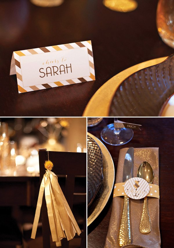 metallic dinner party place card
