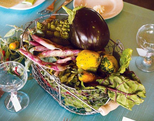 rustic vegetable centerpiece