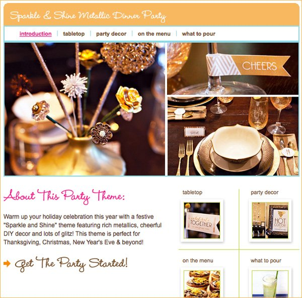 metallic dinner party ideas