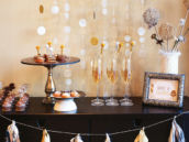 silver and godl party ideas - drinks dessert and centerpiece