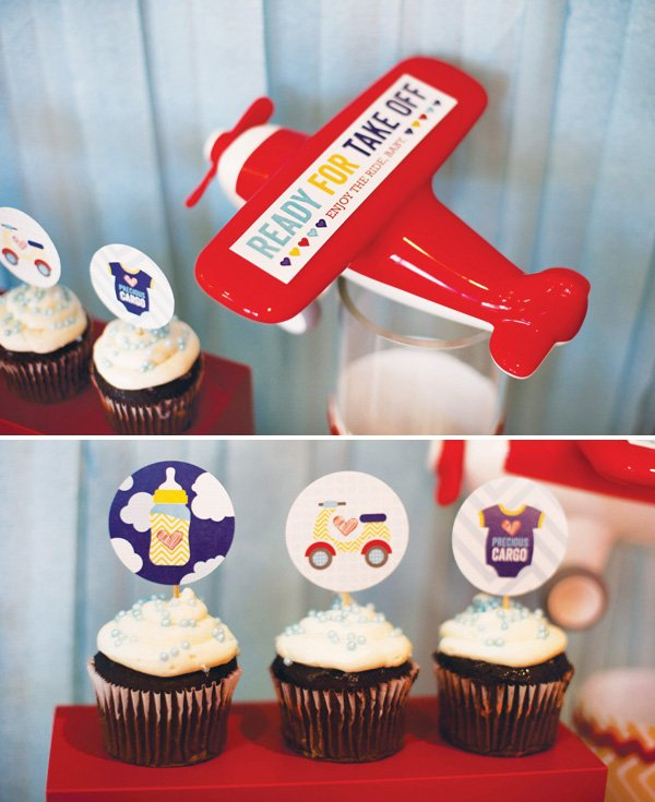 airplane and transportation themed baby shower cupcakes