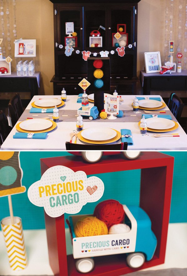 transportation baby shower tablescape