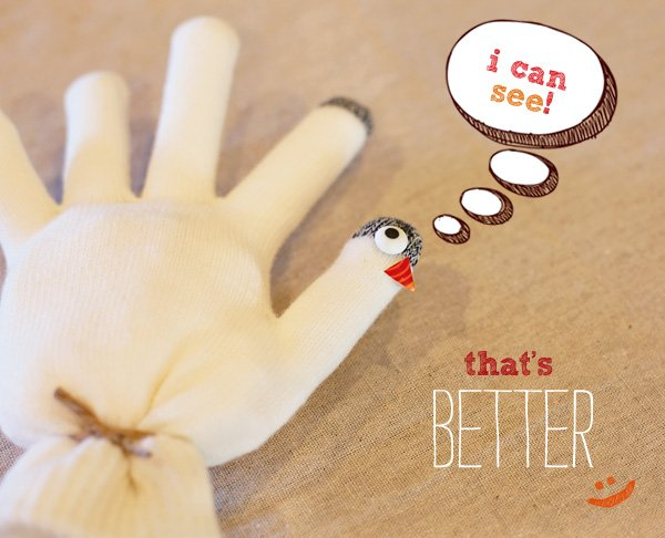 mitten turkey craft - eyes and beak