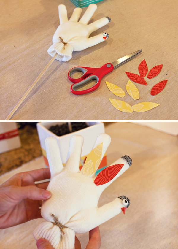mitten turkey craft - paper feathers
