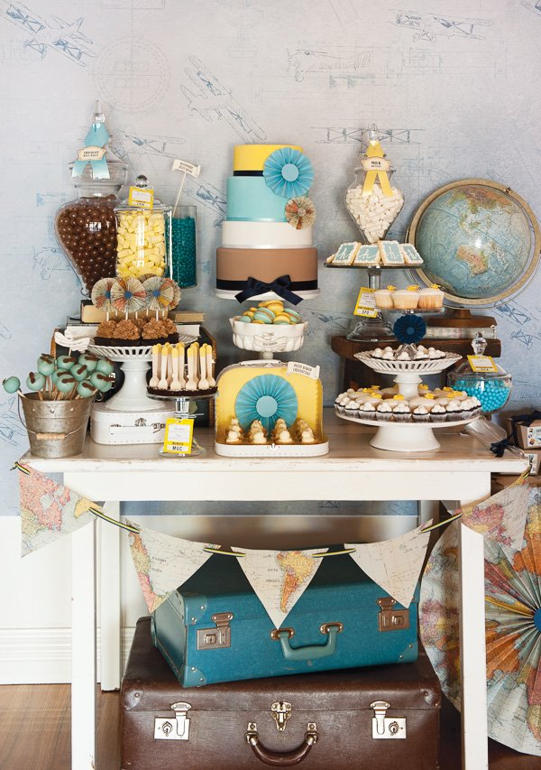 vintage airplane dessert table