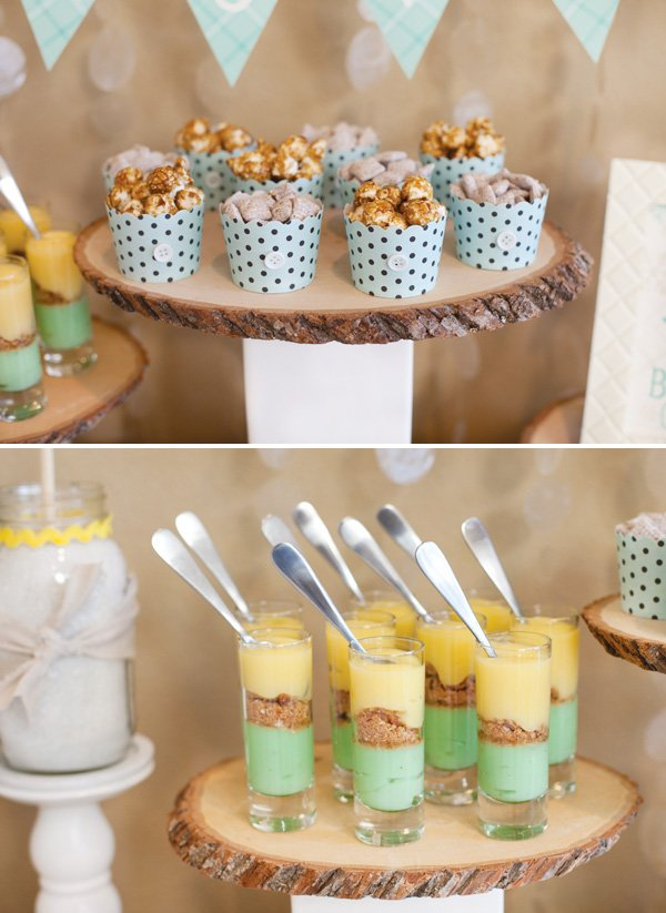 woodsy winter baby shower desserts
