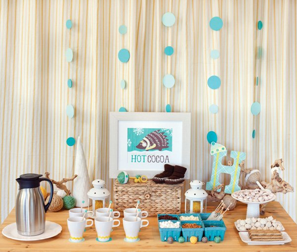baby shower winter hot cocoa bar