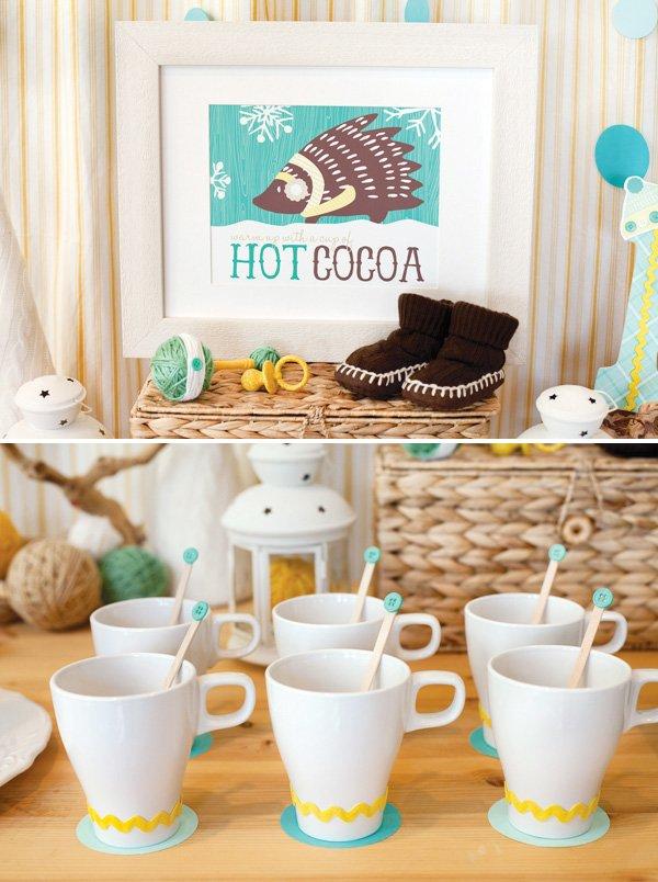 baby shower winter hot cocoa bar