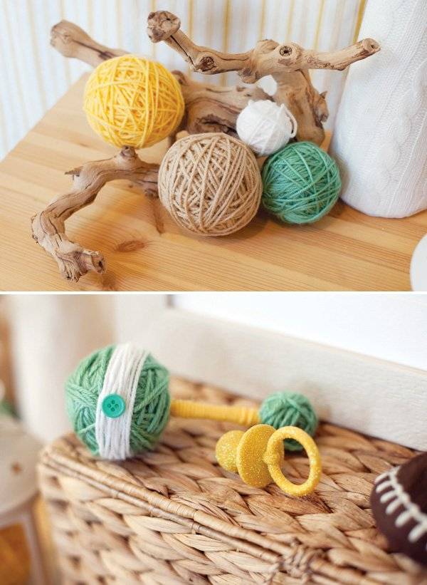DIY yarn ball rattle and glitter pacifier