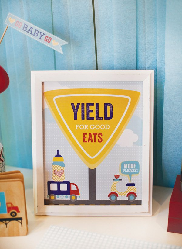 yield for good eats baby shower transportation sign