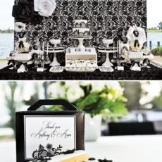 black and white dessert table