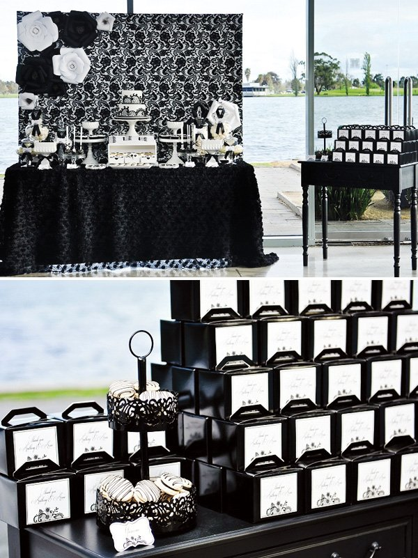 black and white favor boxes