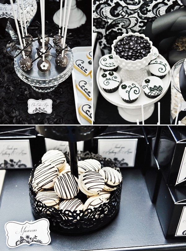 Table Decorations Black And White Theme Dramatic Black And White Dessert Table
