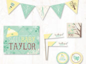 bundle up baby mint gender neutral baby shower party printables collection on hostess ink