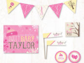 bundle up baby pink girl baby shower party printables collection on hostess ink
