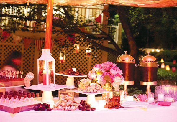 candle lit dessert table