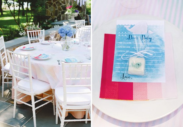 cute whale baby shower tablescape