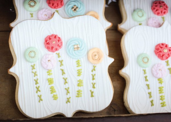 embellished flower cookies