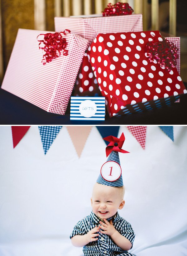 gingham pinwheel party hat